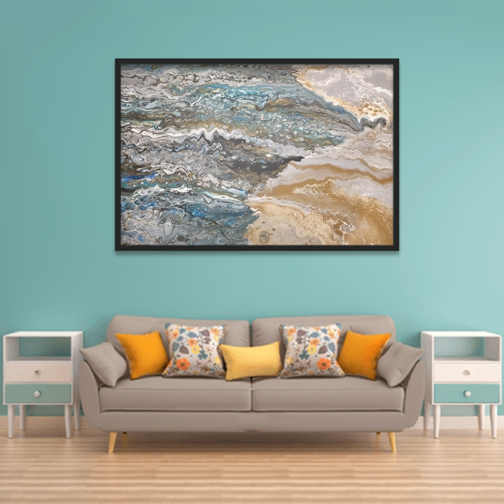 """Arcylic on Canvas, 3' x 5' mix of blues, teal and silver.  Entitled, """"Mica"""". Appears as waves washing to the beach."""
